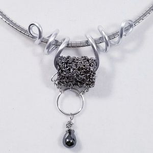 Aluminum Silver Spiral Pendant Antique Silver Bead